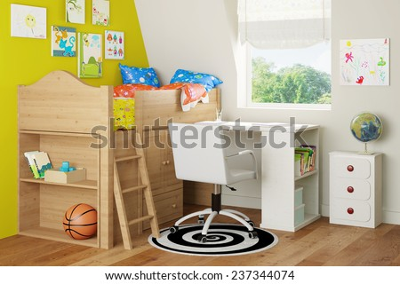 Interior with loft bed and desk in a nursery room (3D Rendering) - stock photo