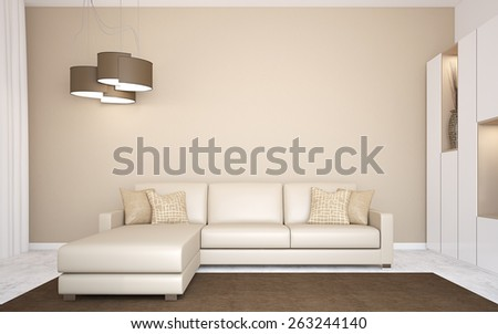 Interior with modern couch near empty wall. 3d render. - stock photo