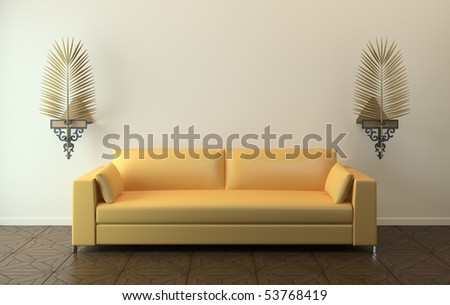 Interior with modern yellow couch. 3d render. - stock photo
