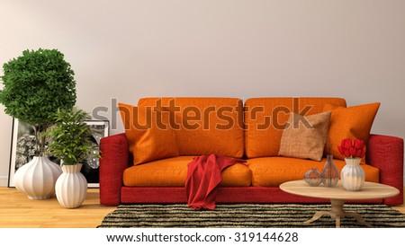 Interior With Orange Sofa. 3d Illustration