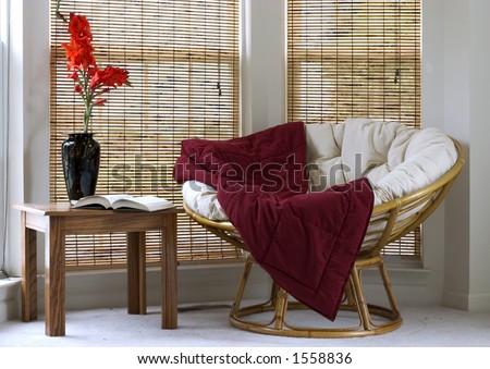 Interior with Papasan Chair - stock photo