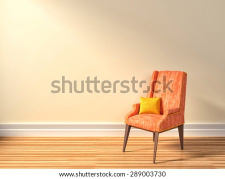 Interior with pink armchair. 3d illustration - stock photo