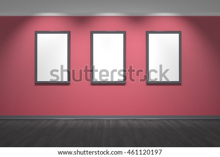 Interior with red stucco wall and black wood floor three empty frames on the wall - 3d illustration