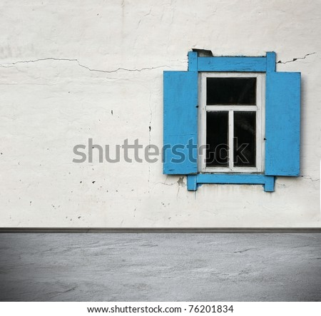 interior with rural window - stock photo
