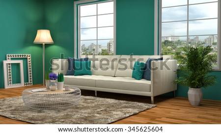 interior with sofa. 3d illustration - stock photo