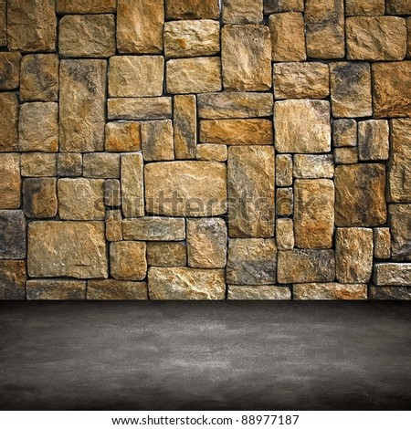 interior with stone wall - stock photo