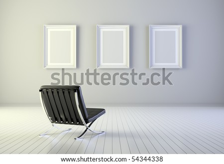 Interior with three blank frames and armchair - stock photo