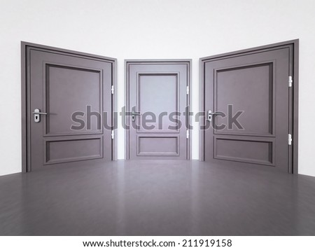 interior with three closed doors in 3D illustration - stock photo