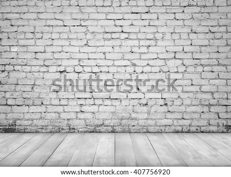Interior with white brick wall and wooden floor for background