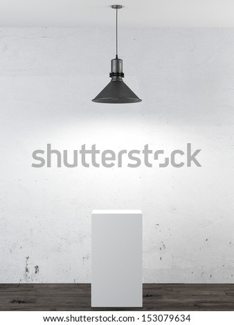 Interior with white stand  and ceiling lamp - stock photo
