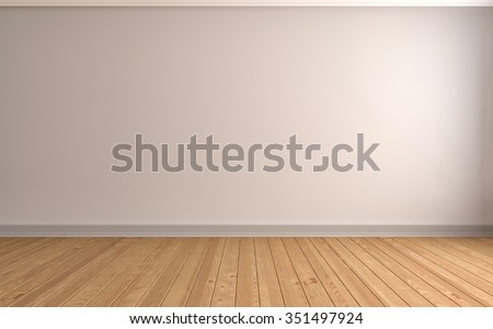 interior with white wall. 3d illustration