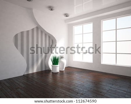 interior with wooden floor - stock photo