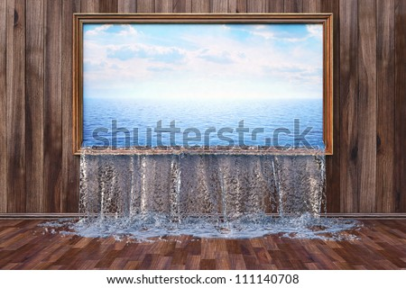 Interior with wooden wall and floor. Water is poured into the interior through the picture on the wall. - stock photo