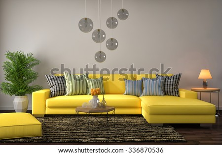Living Room Yellow Sofa interior yellow sofa 3d illustration stock illustration 336870536