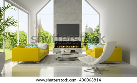 Interior with yellow sofas and fireplace 3D rendering  - stock photo