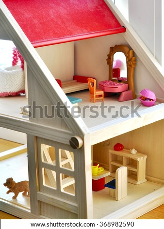 interior wooden toy house - stock photo