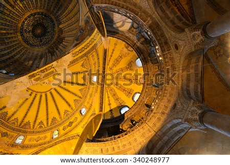 Interiorof Haghia Sophia, Istanbul. One of the oldest a landmarks of Turkey.