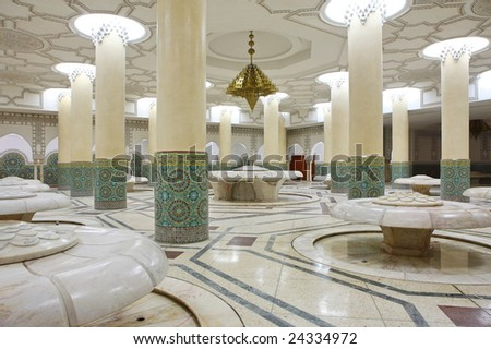 Interiors (ablution hall) of the Mosque of Hassan II in Casablanca, Morocco - stock photo