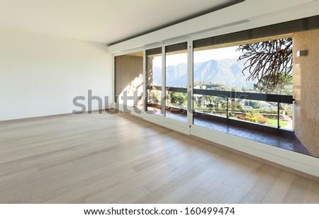 Interiors building,  new apartment, empty living room - stock photo