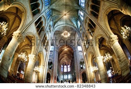 interiors hdr notre dame paris - stock photo