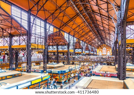 Interiors of Central Market Hall of Budapest, Hungary - stock photo
