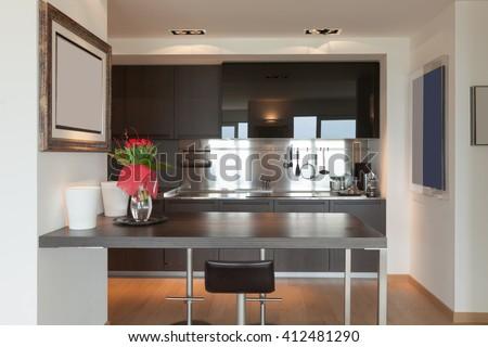 Interiors of new apartment, contemporary domestic kitchen  - stock photo