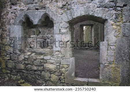 Interiors of ruins of an Hore Abbey in Cashel, Ireland. It is a ruined Cistercian monastery and famous landmark in Tipperary - stock photo