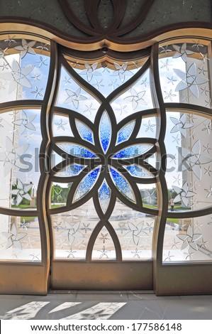 Interiors of Sheikh Zayed Mosque, Abu Dhabi, United Arab Emirates  - stock photo
