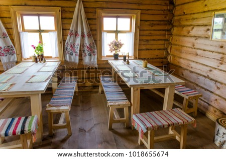 "interiors of the Russian hut in the estate ""Tarkhany"" poet Mikhail Lermontov in the Penza region"