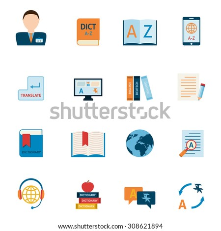 Interlengual synchronic translator mobile electronic device dictionary support alphabet apps flat icons set abstract isolated  illustration - stock photo