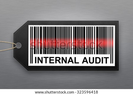 internal audit barcode with stainless steel background - stock photo