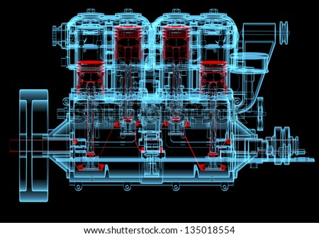 Internal combustion engine (3D xray red and blue transparent isolated on black background) - stock photo