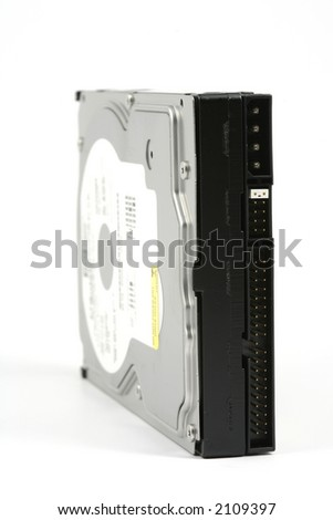 Internal hard disk drive view, vertical format, on a white background.