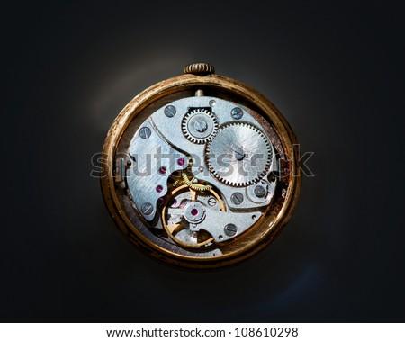 Internal mechanism of old clock - stock photo