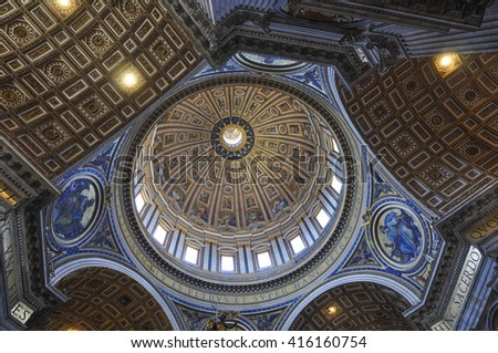 Internal of St. Peter's Basilica, Rome Italy