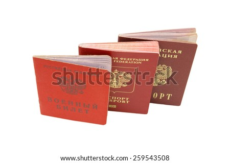 Internal passport, passport & Identity card of the Russian Armed Forces. - stock photo