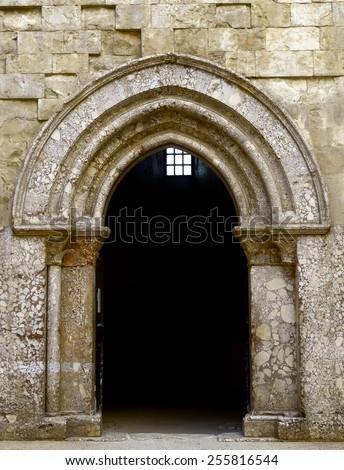 internal portal Castel del Monte, Unesco heritage. Italy, Apulia  - stock photo