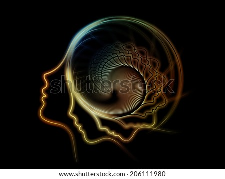 Internal Recurrence series. Abstract design made of human profile and geometric forms on the subject of inner reality, mental health, imagination, thinking and dreaming - stock photo