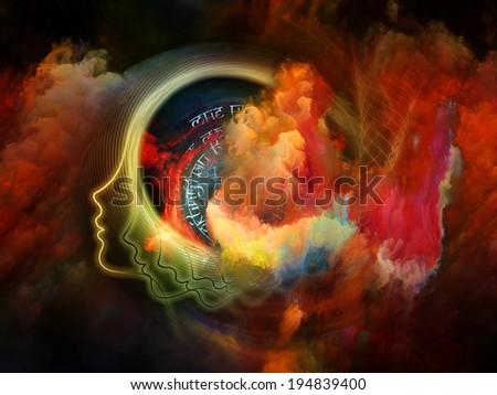 Internal Recurrence series. Arrangement of human profile and fractal forms on the subject of inner reality, poetry, magic, imagination, thinking and dreaming - stock photo