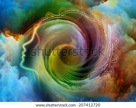 Internal Recurrence series. Background design of human profile and fractal forms on the subject of inner reality, mental health, imagination, thinking and dreaming - stock photo