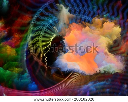 Internal Recurrence series. Design composed of human profile and fractal forms as a metaphor on the subject of inner reality, mental health, imagination, thinking and dreaming - stock photo