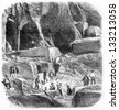 Internal View of the Marble Quarries of Echaillon in Isere, France, vintage engraved illustration. Le Magasin Pittoresque - Larive and Fleury - 1874 - stock photo