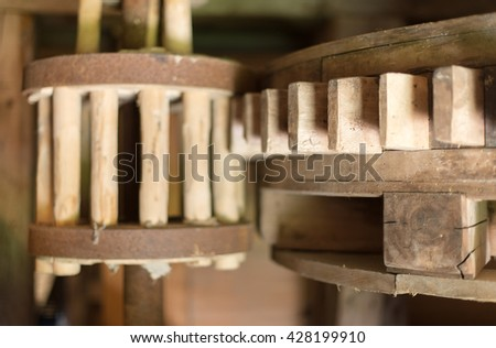 Internal working mechanism of the windmill. - stock photo