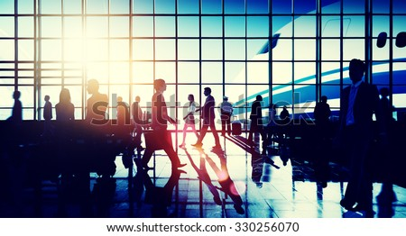International Airport Airplane Departure Business Travel Concept - stock photo