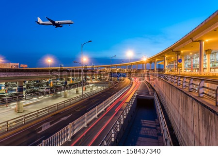 International Airport Terminal T3 night in Beijing - stock photo