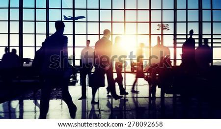International Airport Terminal Travel Business Trip Concept - stock photo