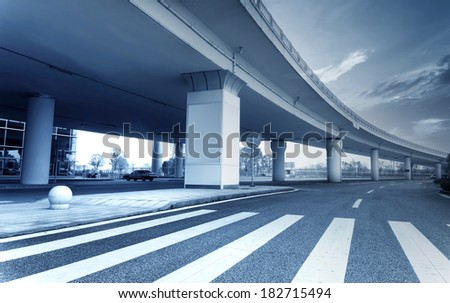 International Airport with adjacent overpass - stock photo