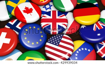 International and global business concept with world flags on scattered pin badges background 3d illustration.