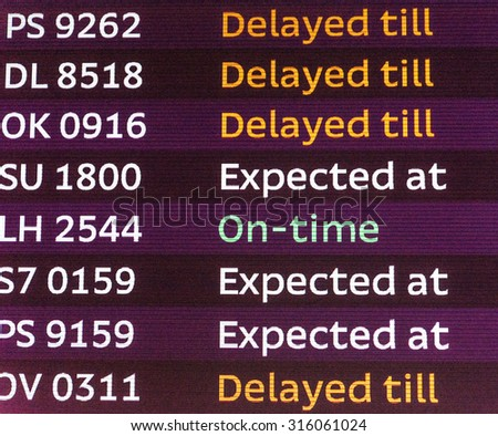 International arrivals board panel. Delays and timely arrival - stock photo