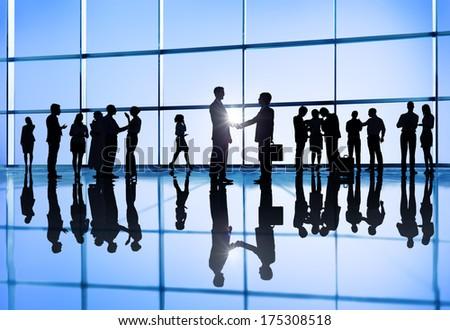 International Business Group with Handshake - stock photo